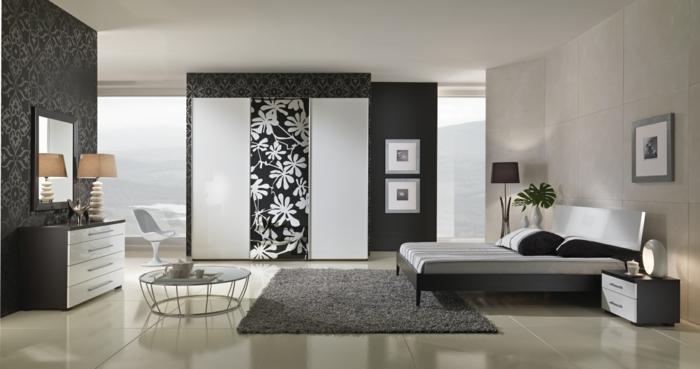 schlafzimmer einrichten ideen grauer teppich elegante tapeten
