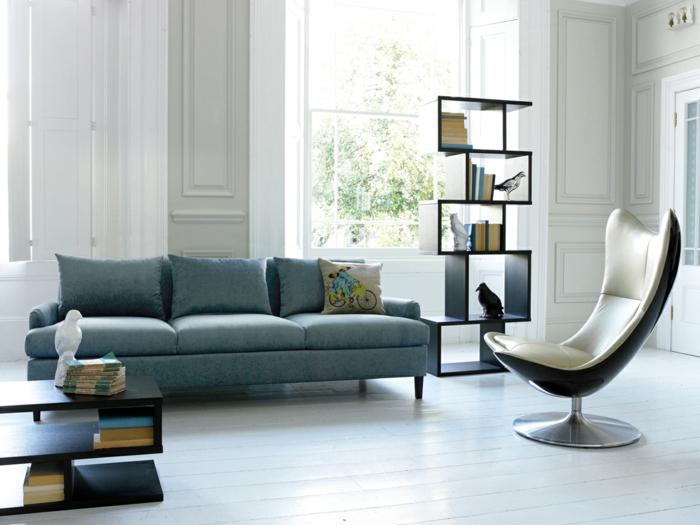 Wohnideen Wohnzimmer Blaues Sofa Moderner Sessel Regale