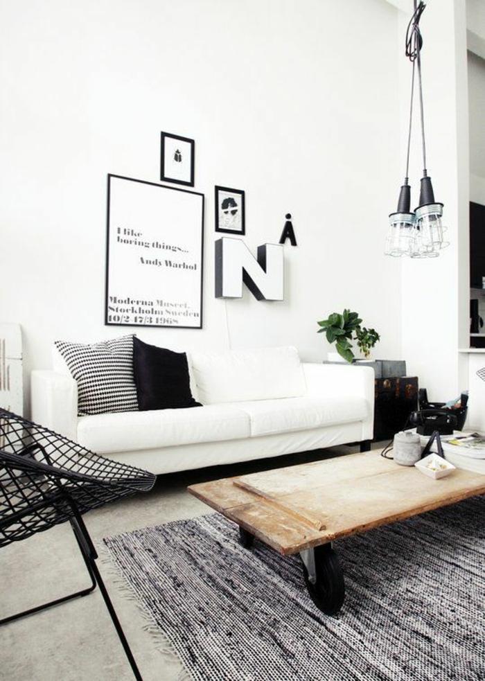 wohnideen wohnzimmer industrieller stil weißes sofa pendelleuchten