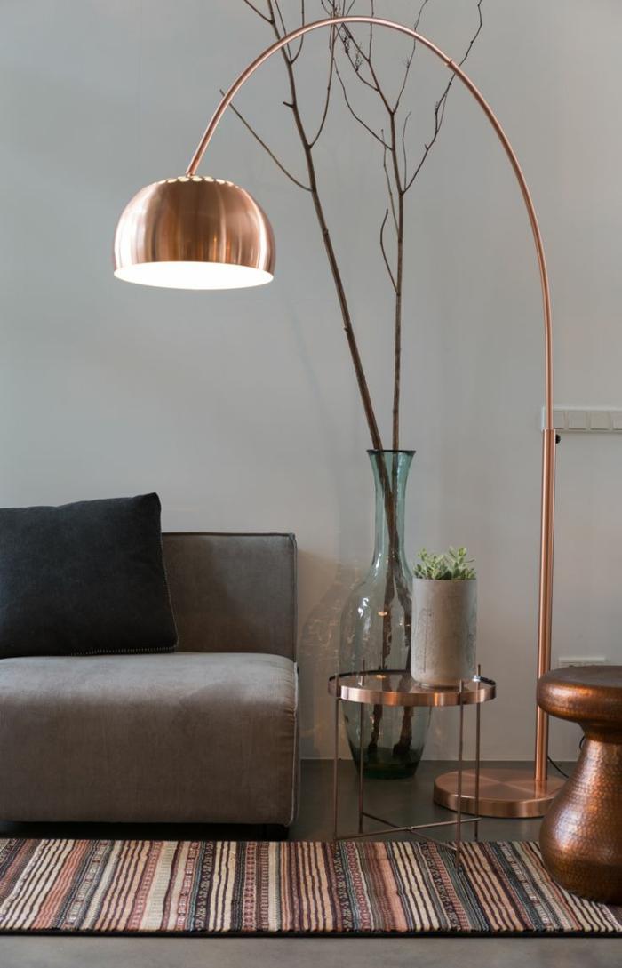 wohnraumleuchten originelle stehlampe kupfer farbe metallgestell