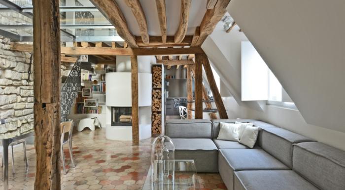 wohnung einrichten ideen aus einem historischen haus mit innenhofterrasse in paris. Black Bedroom Furniture Sets. Home Design Ideas