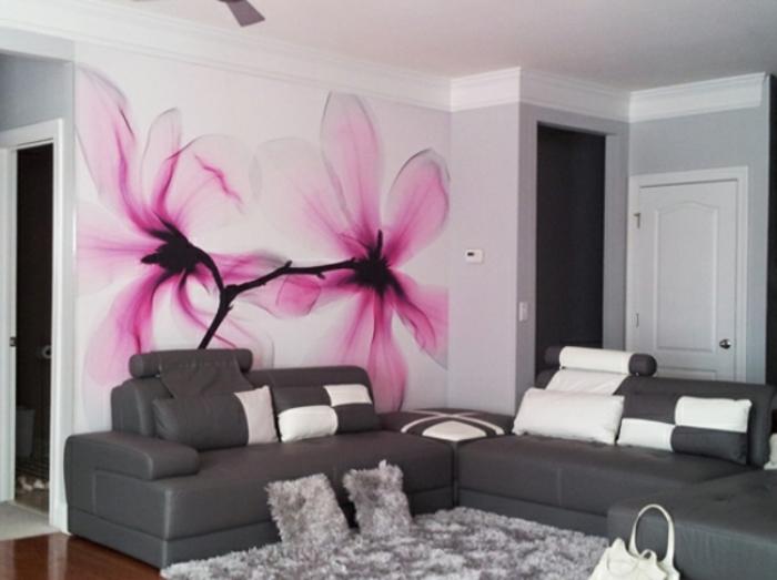 wanddeko ideen mit floralen motiven. Black Bedroom Furniture Sets. Home Design Ideas