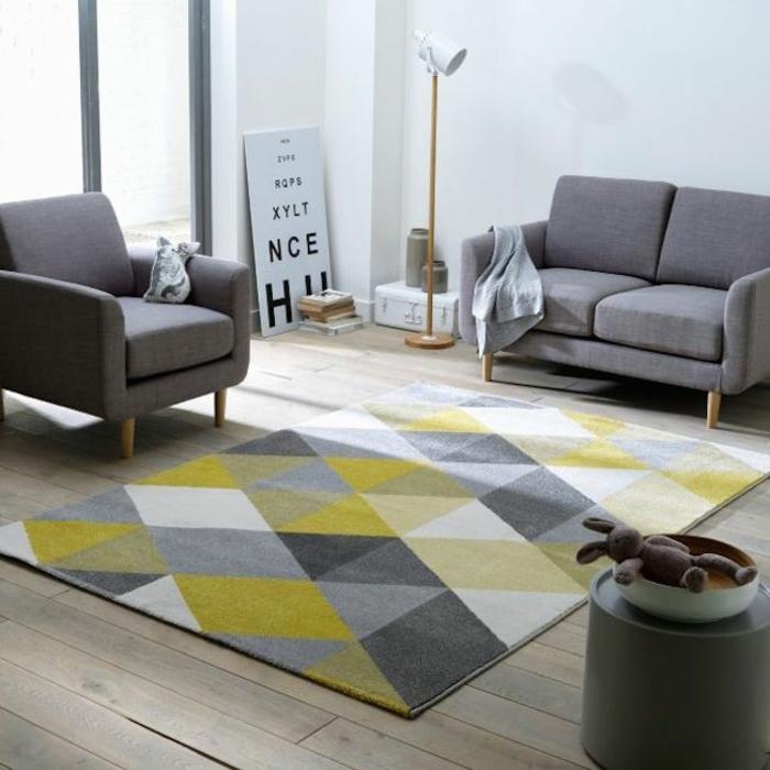 gelber teppich f r eine frische und strahlende zimmergestaltung. Black Bedroom Furniture Sets. Home Design Ideas
