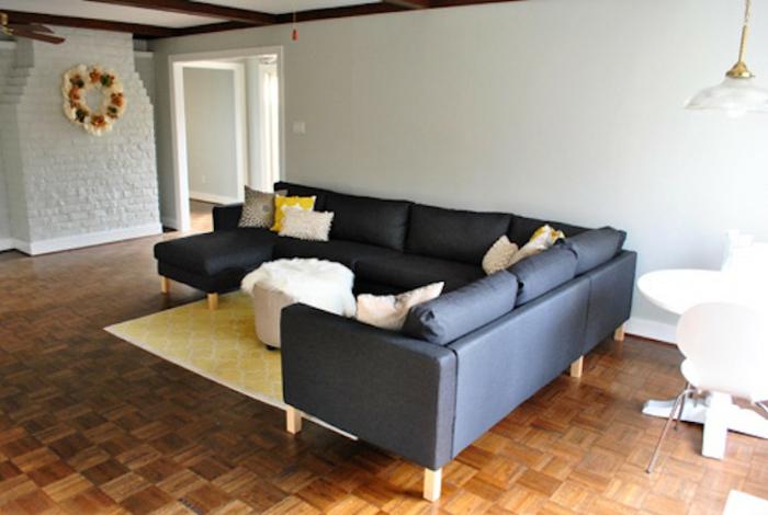 wohnzimmer einrichten tipps bodenbelag teppich gelb