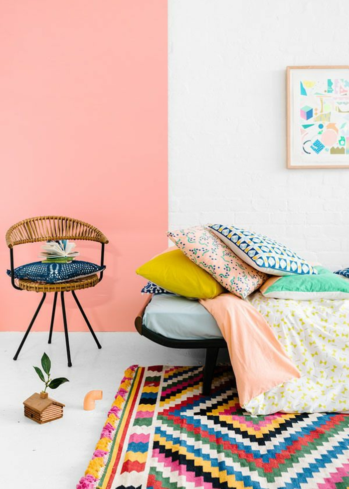 wohnzimmer gestalten rosa:wohnzimmer gestalten farbe wandfarbe rosa farbgestaltung ideen
