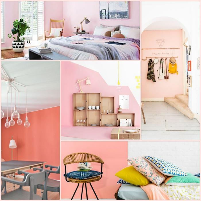 Wohnzimmer Gestalten Farbe Wandfarbe Rosa Farbkombination Farbgestaltung  Ideen Für Ein Strahlendes Zuhause ...