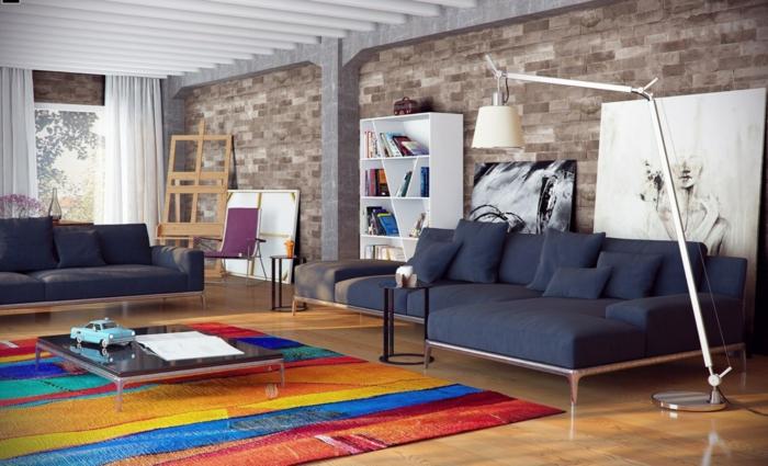 wohnzimmereinrichtung farbiger teppich graue sofas lange weiße gardinen