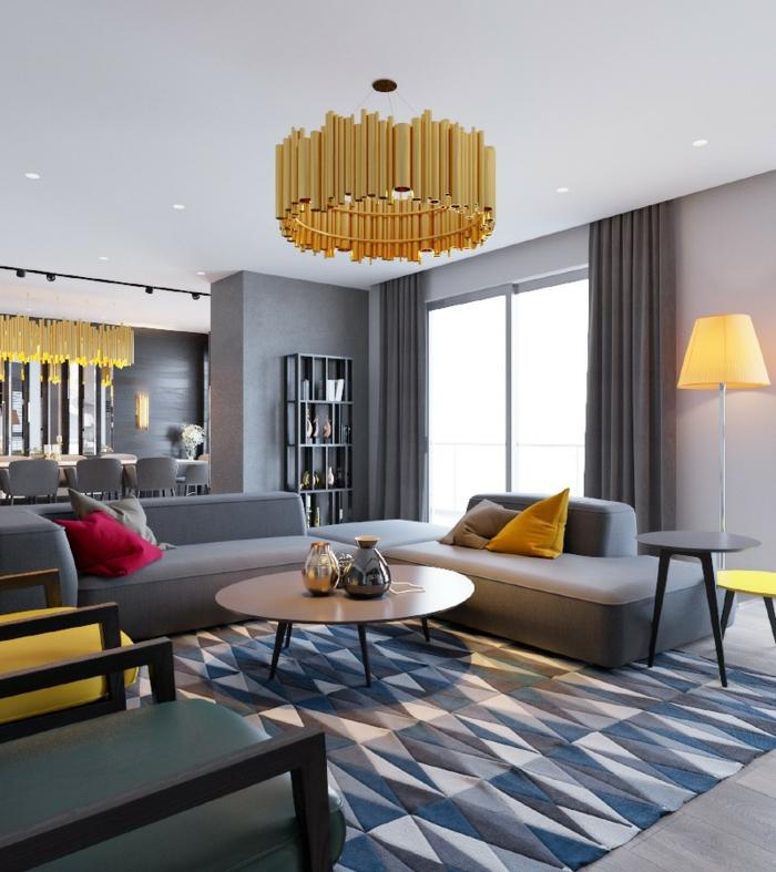 Wohnzimmereinrichtung Geometrischer Teppich Gelbe Akzente Wohnideen  Wohnzimmer ...
