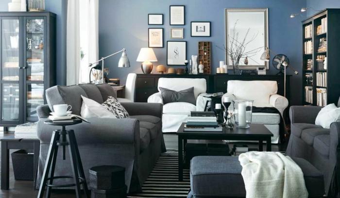 wohnzimmereinrichtung grau weiß streifenteppich