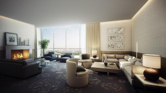 wohnzimmereinrichtung großes wohnzimmer kamin teppichboden panoramafenster
