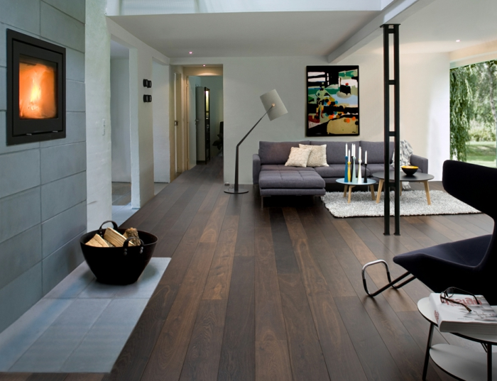 wohnzimmereinrichtung ideen ecksofa runde tische weißer teppich