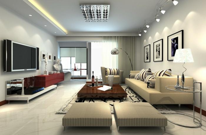 wohnzimmereinrichtung vintage möbel dekokissen akzente