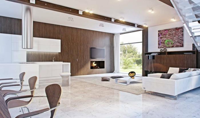 wohnzimmereinrichtung weiß braun kamin modern