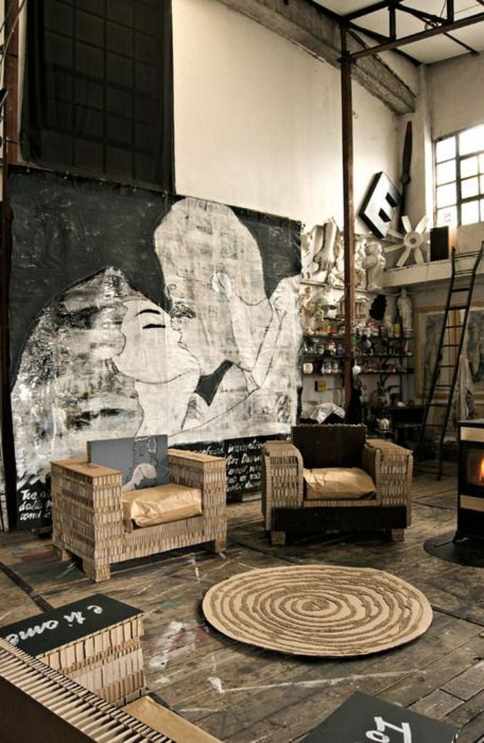 wohnzimmerideen coole möbel wanddeko industrieller look
