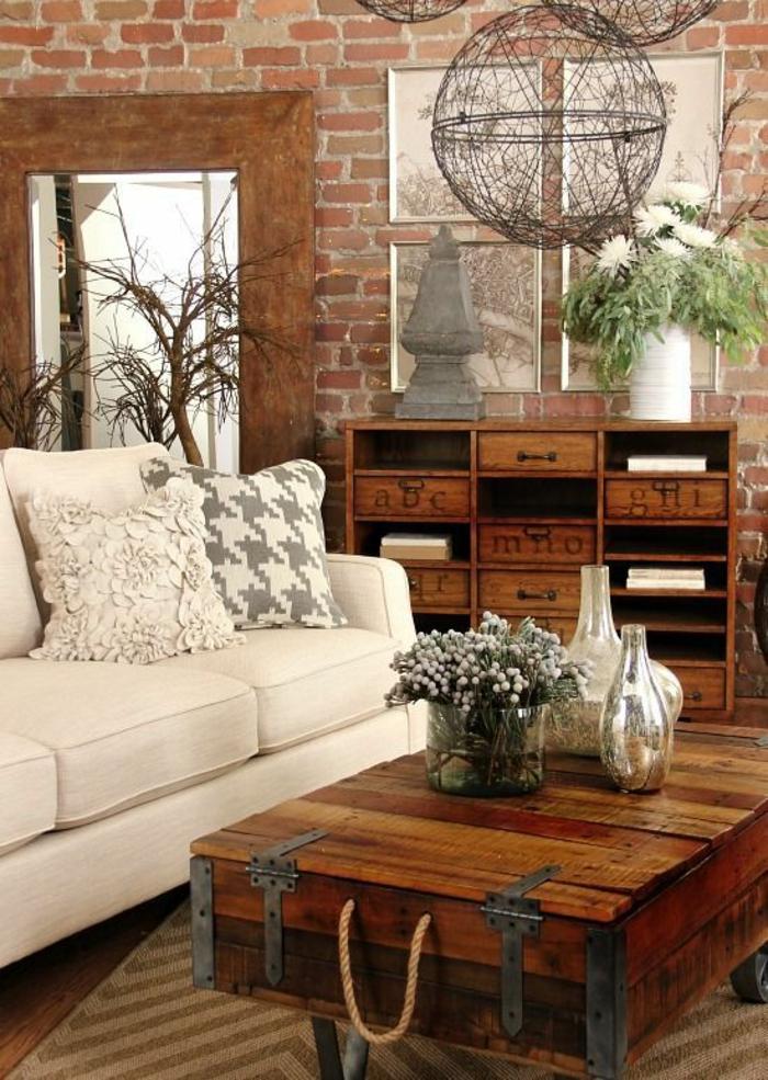 wohnzimmerideen weißes sofa rustikale elemente