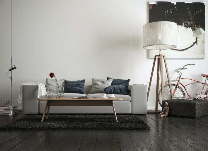 zimmer einrichten wohnzimmer beleuchtung dunkler dielenboden weißes sofa