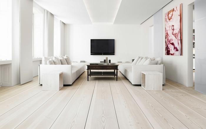zimmer einrichten wohnzimmer weiße wandgestaltung weiße möbel dielenboden