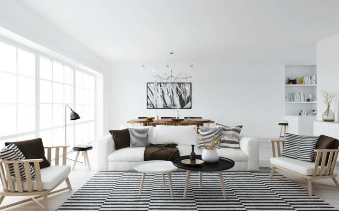 zimmergestaltung weißes wohnzimmer skandinavisches design streifenmuster