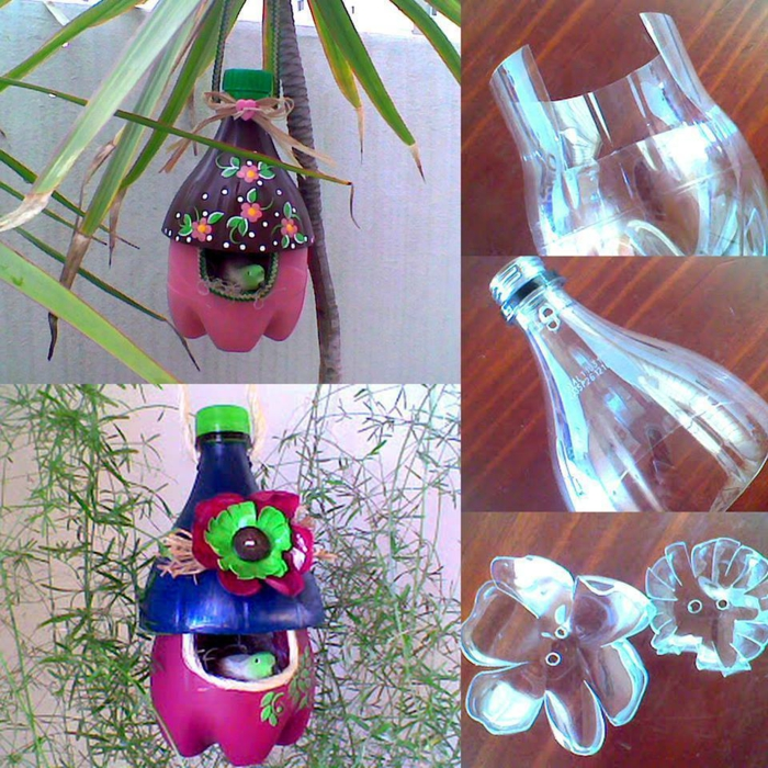 Upcycling Ideen Basteln mit Pet Flaschen hänge gedüns