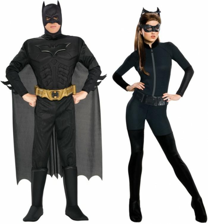 Halloween Kostüme selber machen batman und catwoman