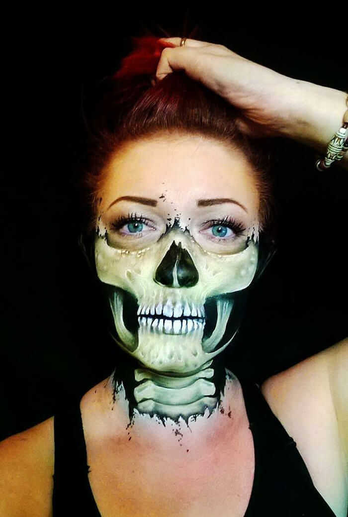 Halloween Make up ideen Nikki Shelley halbes gesicht schminken