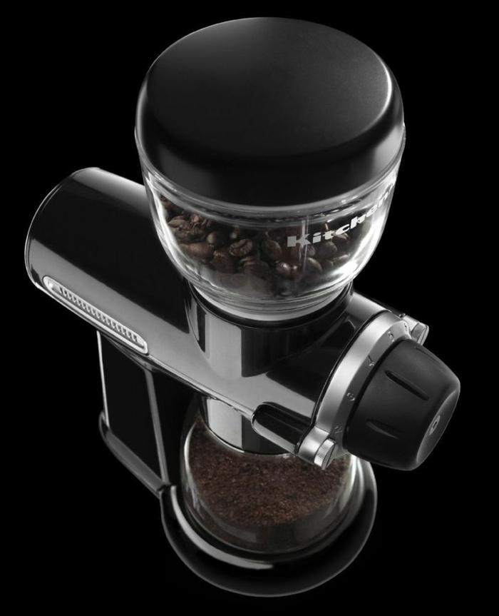 Kaffeemühle schwarz stock