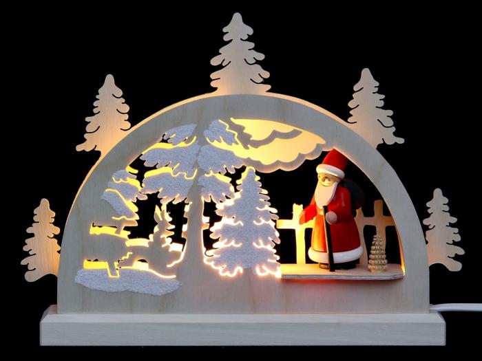Mini LED Schwibbogen Weihnachtsmann im Wald Weihnachtsdekoration online shop