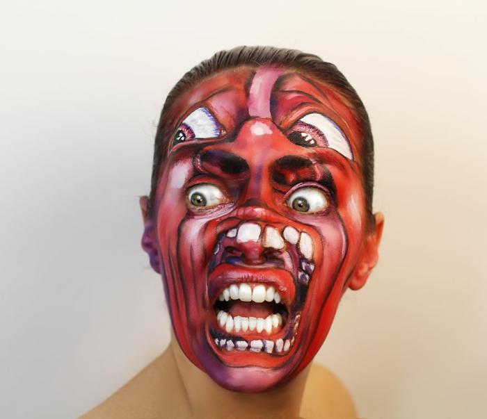 Natalie Sharp album cover kring crimson gesicht schminken