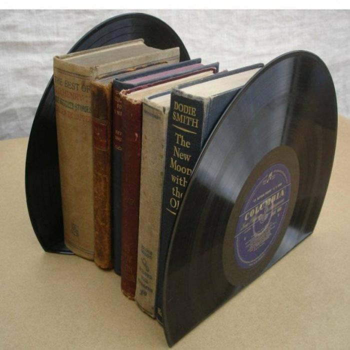 Schallplatten Bastelideen bücherstützen diy projekte
