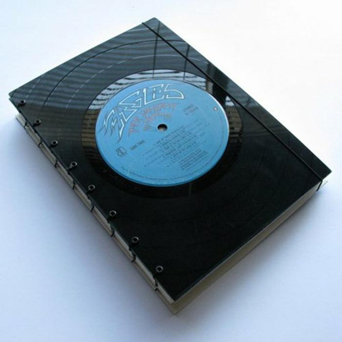 Schallplatten Bastelideen bucheinband machen diy projekte
