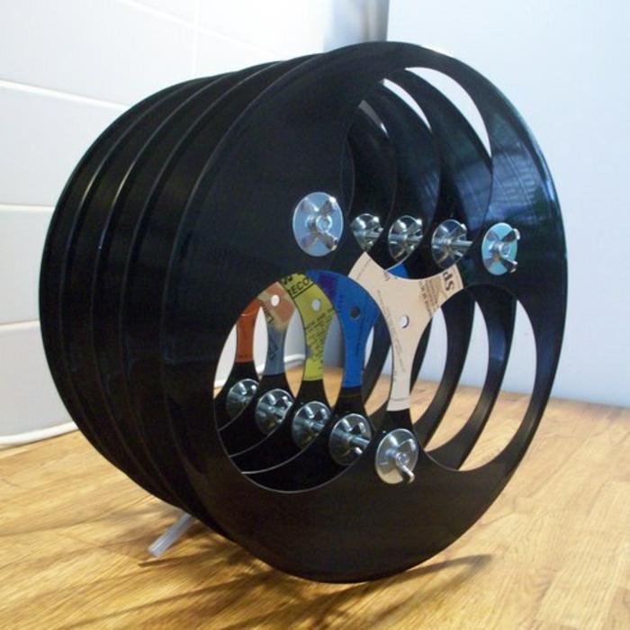 Schallplatten Bastelideen weinregal selber machen diy projekte