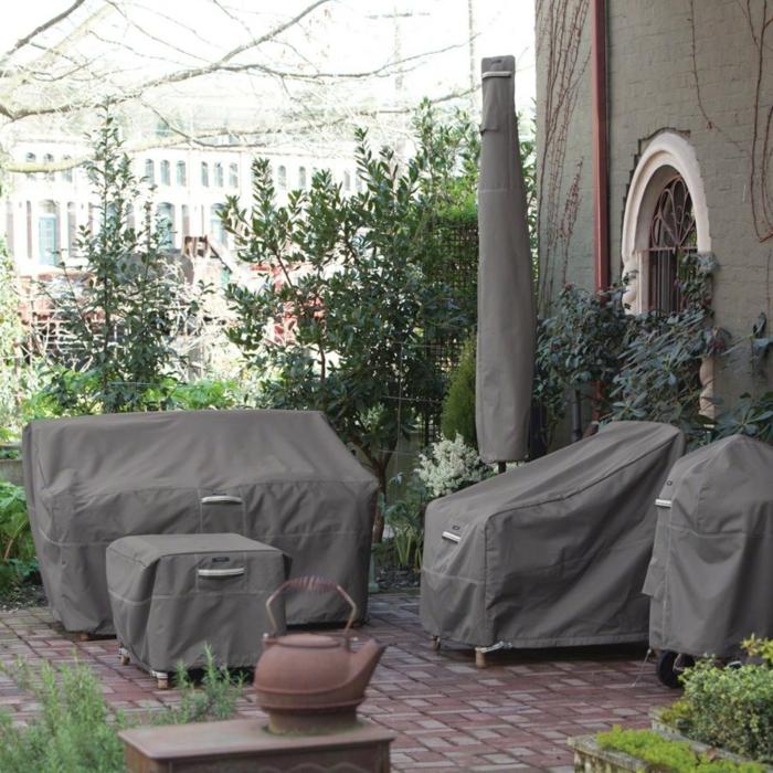 Schutzhülle für Gartenmöbel dunkel grau