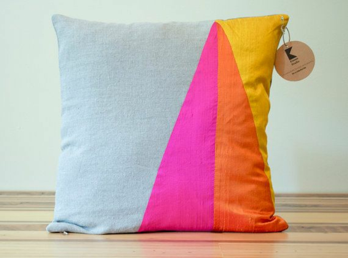 Sofakissen selber nähen kreative bastelideen patchwork deko kissen