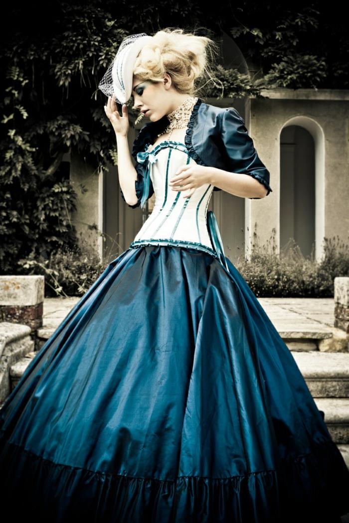 Steampunk Kleid blau einzeln