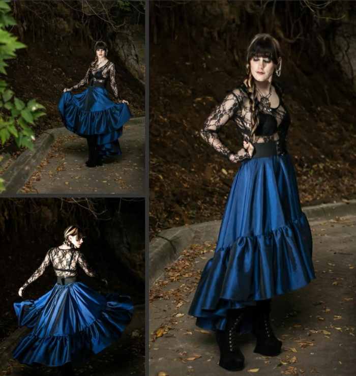 Steam punk Kleid blau