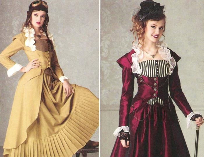 Steampunk Kleid gelb