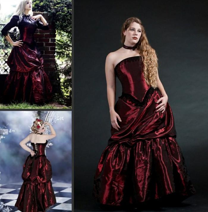 Steampunk Kleid weinrot