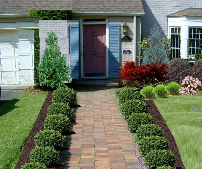 Vorgartengestaltung ideen gartenweg pflaster pflanzen
