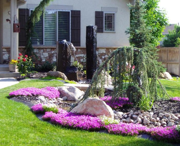 Vorgartengestaltung pflanzen dekosteine grüner rasen