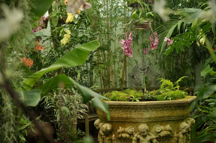 Wintergarten einrichten springbrunnen