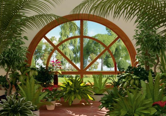 Wintergarten einrichten tropische pflanzen