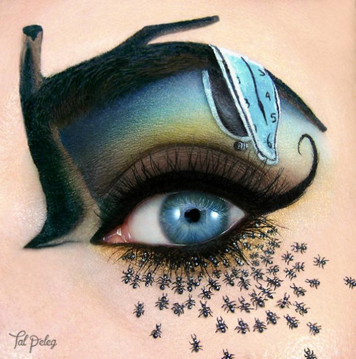 augen schminken maskenbildnerin Tal Peleg dali uhren inspiration