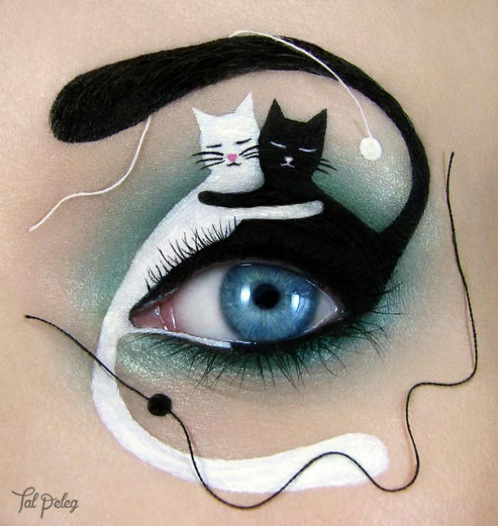 augen schminken maskenbildnerin Tal Peleg schwarze katze weiße katze