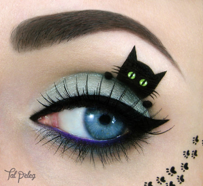 augen schminken maskenbildnerin Tal Peleg schwarze katze