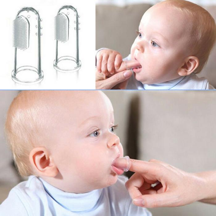 baby zähne putzen spezielle silikon zahnbürste