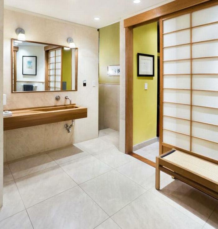 badeinrichtung japanisch minimalistischer stil paravent helles holz