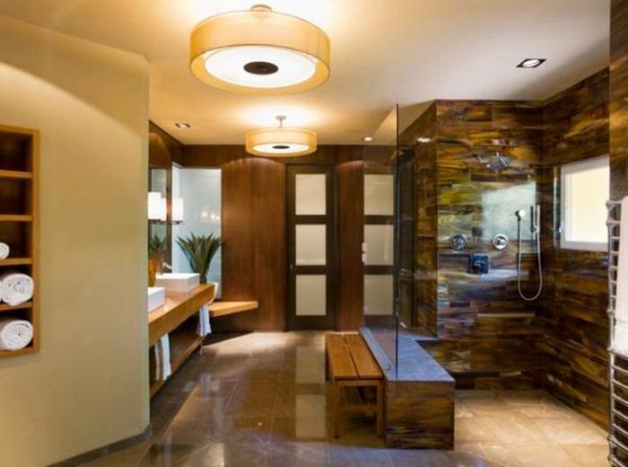 badeinrichtung japanisch minimalistischer stil runde deckenleuchten