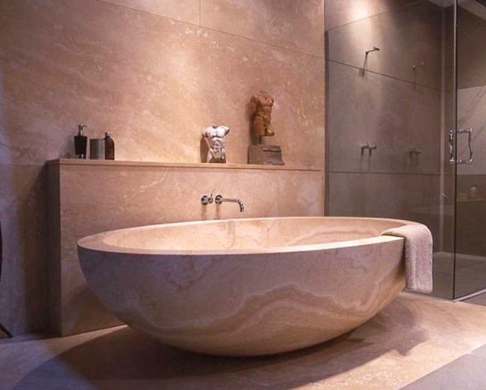 Wonderful Badeinrichtung Japanischer Stil Minimalismus Marmor Glastüren