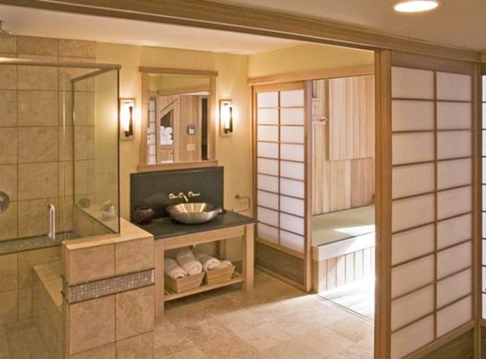 badeinrichtung japanischer stil schiebetüren paravent