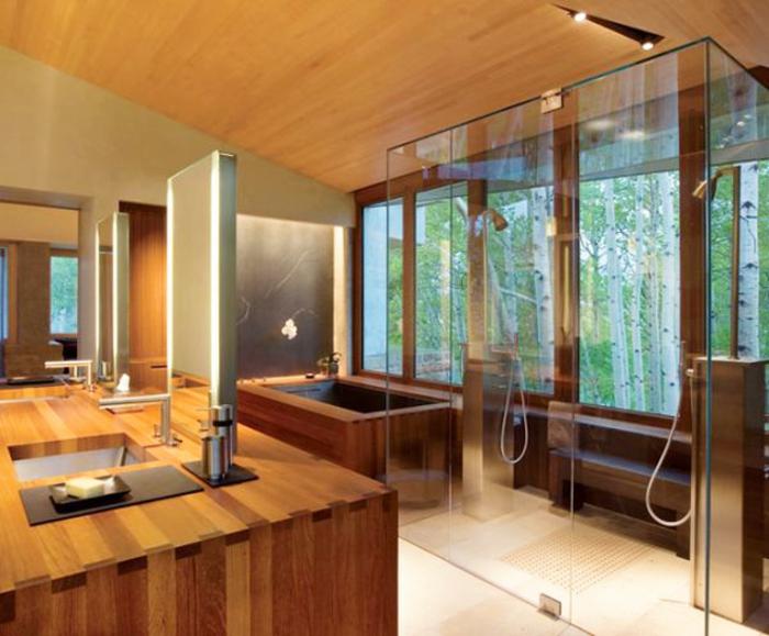 Badeinrichtung Modern Japanischer Stil Minimalistisch Glas Duschkabine